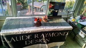 Craft / Art Fair Display table. With OOAK pocket Critter display and Sitting Wood Sprite Display.